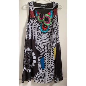Desigual embroidered & beaded flare dress